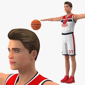Teenage Boy with Basketball Ball T Pose 3D model