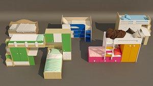 3D 5 item bunk bed design collection. model
