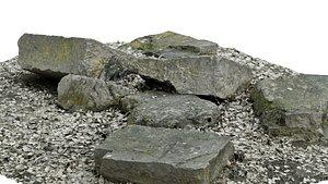 3D concrete rocks raw