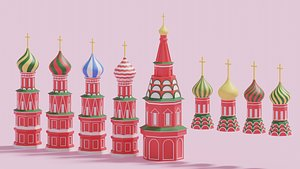 3D Moscow Kremlin Saint Basil's Cathedral Russia