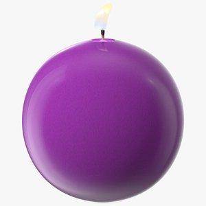 3D Lit Altar Candle Sphere Purple