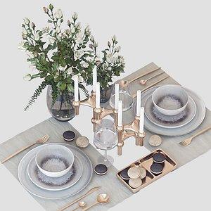 tableware roses 3D model
