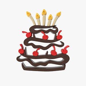 3D Birthday Chocolate Cake model