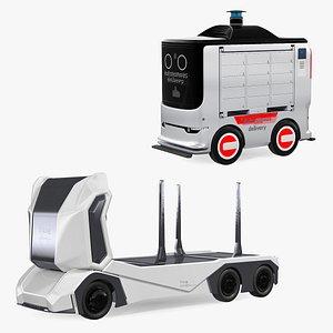 Autonomous Electric Robo Trucks Collection 3D model