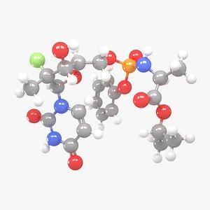 3D Sofosbuvir - C22H29FN3O9P Molecular Structure model