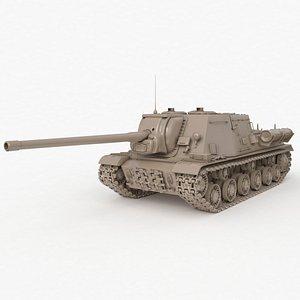 Tank ISU 122 Russian Clay V Ray 3D model