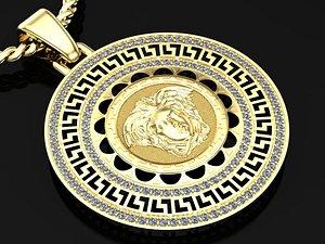 Medusa pendant with greek pattern 3D model