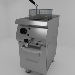 fryer modeled commercial kitchen 3D