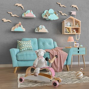 3D set furniture sofa toys model
