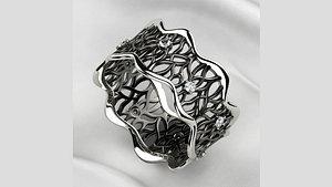 Unique Design Lace Rhodium Plating Gold Ring 3D