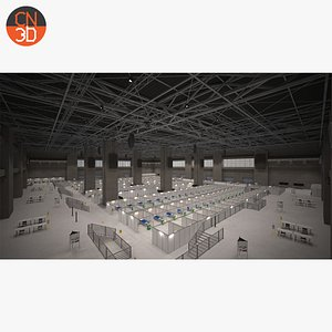 Hall 1 Epidemic - Covid19 - low poly 3D model