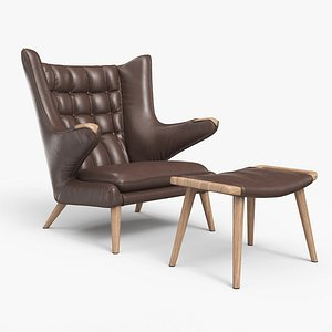 Papa Bear Chair And Ottoman Brown Leather 3D