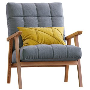 Arkin Wooden Frame Accent Chair Grey