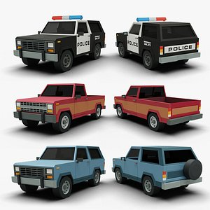 3D Stylized Cartoon SUV Police Car and Pickup 80s model