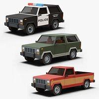 Stylized Cartoon SUV Police Car and Pickup 80s