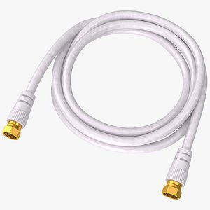 F Type RG6 Coax Cable Gold Plated 3D model