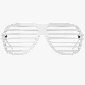 3D White Shutter Shades Sunglasses - Game Asset model