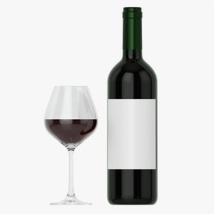 Wine bottle mockup 03 Red with glass 3D model