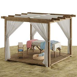 3D beach outdoor set 6 model