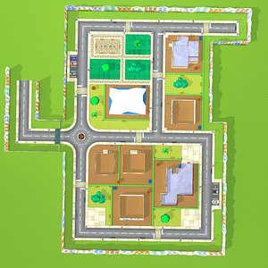 3D Low poly Mini city Environment 3D model