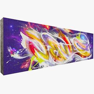3D model graffiti art wall