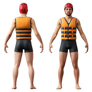 3D Male in life vest