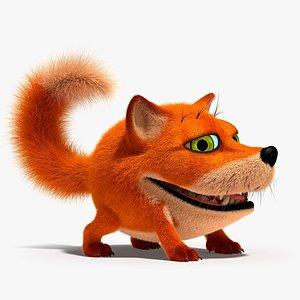 3d fox character rig model
