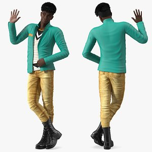 3D Dark Skin Teenager Fashionable Style Standing Pose