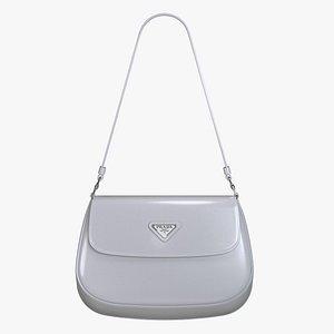 Prada Cleo brushed leather shoulder bag with flap Cornflower Blue model