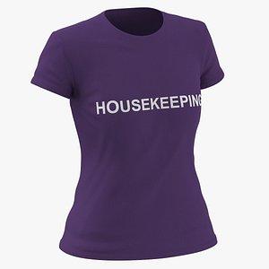 3D Female Crew Neck Worn Purple Housekeeping 01 model