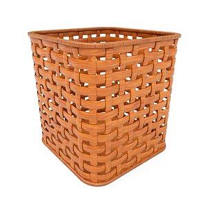 Wicker wooden basket v2 3D