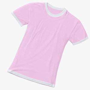 Female Crew Neck Laying White and Pink 01 3D