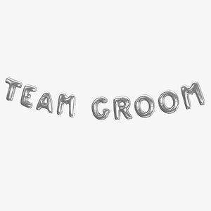 3D Foil Baloon Words Team Groom Silver