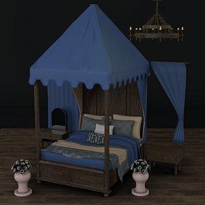 antique baldaquin bed props 3D model
