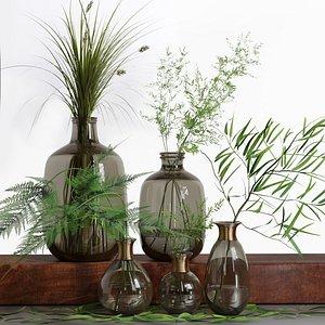 Bouquet of Grass Herb Plant Glass Vases Set 3D model