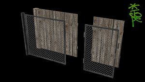 OLD-SCHOOL LOW-POLY FENCE SET 3D model