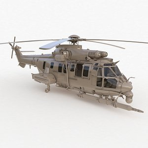 3D Eurocopter EC 725 Clay High Detail 3ds max Vray model
