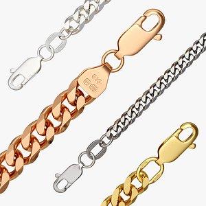 diamond cut curb chain 3D