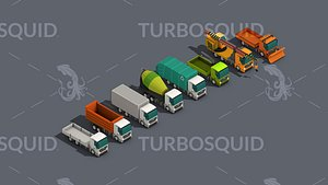 3D Low Poly Truck Pack 01 Isometric Low-poly 3D model
