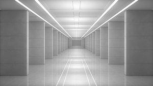 3D model corridor sci fi