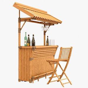 3D Tropical bamboo tiki bar