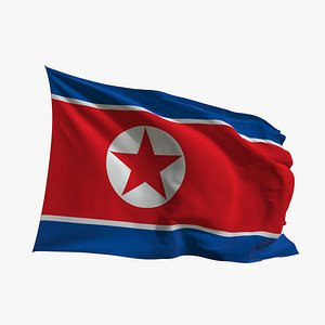 3D model Realistic Animated Flag - Microtexture Rigged - Put your own texture - Def North Korea