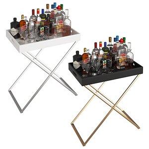 Black and White Mini Bar Beverage Tables 3D model
