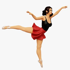 3D Beautiful Graceful Ballerina Girl Ballet Pose