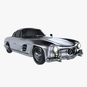 Retro Sport Car Mercedes SL Grey 3D model