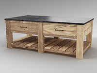 Pottery Barn Parker 50inch Reclaimed Wood Coffee Table 3D model