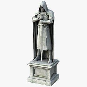 ancient plaster statue knight 3D model