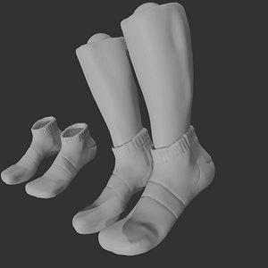 White Socks Mockup 3D model