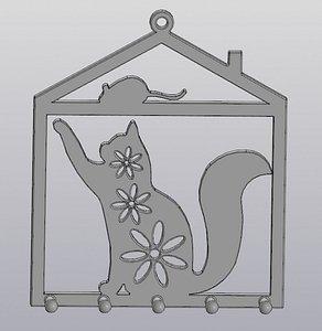 3D hanging keyholder cat