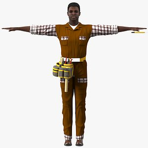 afro american carpenter rigged 3D model
